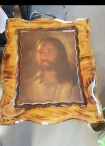 Vintage Lacquered Jesus wooden framed Picture