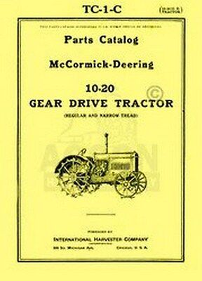 Farmall Mccormick Deering 10-20 Parts Catalog Manual