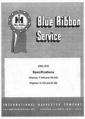 International T-340 Td-340 T340 Specs Service Manual Ih