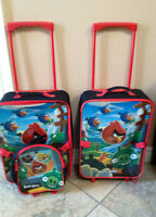 2 Angry bird suitcases on wheels, smoke/pet free