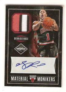 1/1 Derrick Rose 2011-12 Limited Material Monikers Patch Auto 1 of 1 (3 Colors)