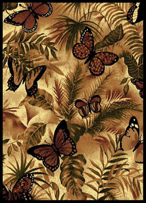 Wildlife Black Butterfly Carpet 5x8 Nature Jungle Area Rug : Actual 5'3