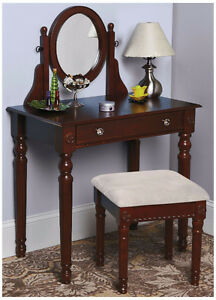 Vanity with Mirror and Stool, New