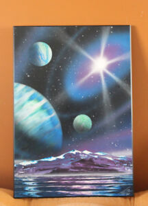 WOODEN SPACE PAINTING