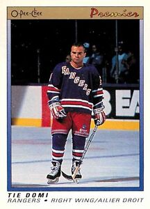TIE DOMI .... ONLY ROOKIE CARD .... 1990-91 O-Pee-Chee Premier
