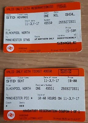 NATIONAL RAIL SINGLE TICKET/RESERVATION FOR JULY 11 17 BLACKPOOL N TO MANCHESTER