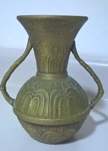 Vintage Unique Brass/ Bronze Vase with Bamboo Handles