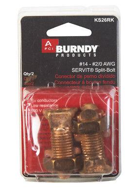 New Burndy Servit Split Bolt Connector Copper 14 - 20 Awg 2-pack Ks26rk