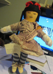 """14"""" Innu Labrador Tea Doll Mom With Papoose Heritage  Art"""