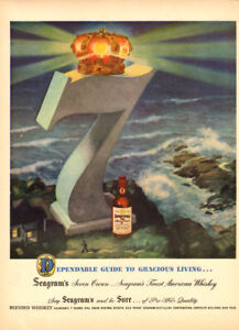 Large (10 by 14) 1947 full-page color ad for Seagram's 7