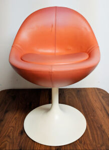 Antique Vintage Orange and White Egg chair MCM from the 60's