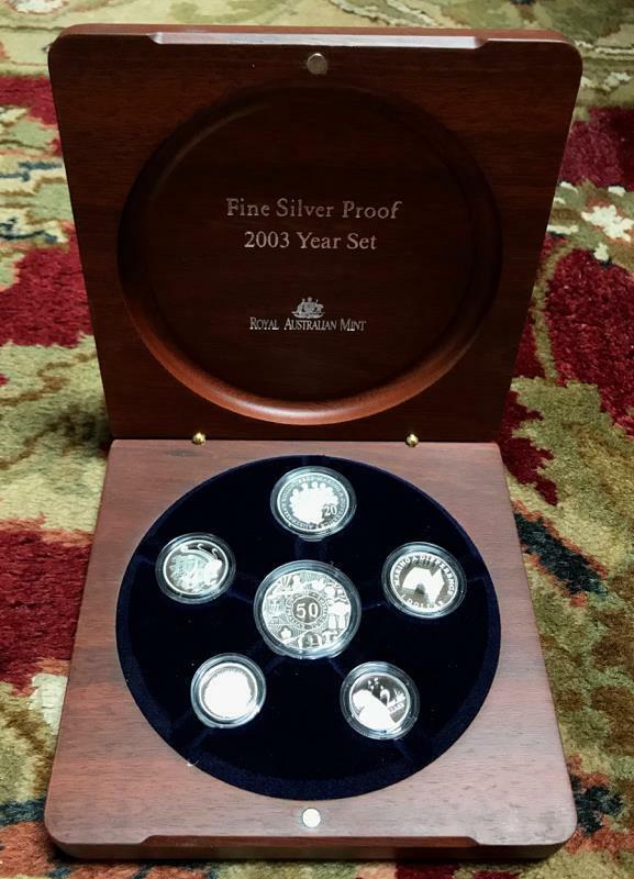 2003 Australian Royal Mint Fine Silver Proof Set #4646 of 6500 w/Box/COA 6 Coins