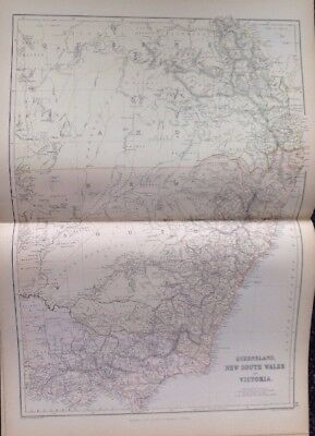 Queensland New South Wales And Victoria 1882 Antique Map W.G. Blackie Atlas