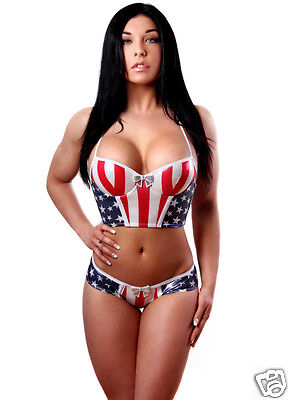 Molded Cup Bustier (Bodyzone Patriotic Flag Underwire Molded Cup Bustier & Panty)