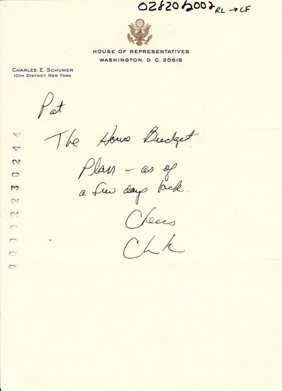 CHUCK (CHARLES E.) SCHUMER - AUTOGRAPH NOTE SIGNED