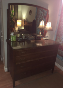 Antique Dresser with mirror. & Free Brass headboard incl.