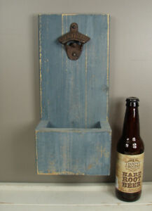 Rustic Barn Board Wall Mount Bottle Opener w/ Cap Catcher