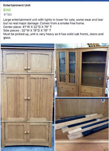 Beautiful Large Entertainment Unit with Lights,