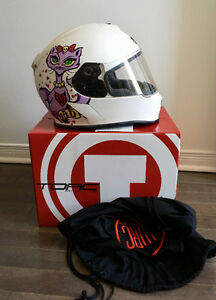 TORC T14 Mako Lucky 13 Bad Kitty Flat White Full Face Helmet