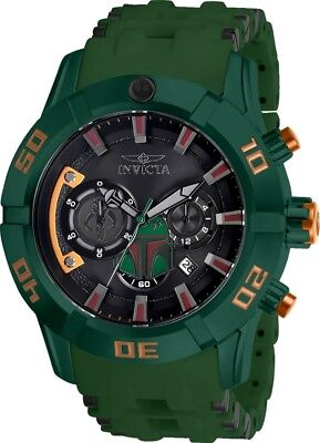 Mens Star Wars Watch (Invicta 26546 Star Wars Men's 50mm Stainless Steel Green Rubber Black Dial)
