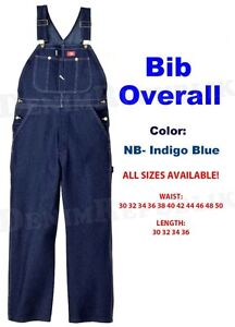NEW-DICKIES-BIB-OVERALLS-83294NB-DENIM-INDIGO-RINSE-BLUE-100-COTTON-NWT-MENS