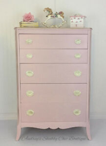 Dresser Tall Shabby Chic Pink