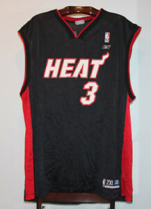 REEBOK DWAYNE WADE MIAMI HEAT ROAD BLACK BASKETBALL JERSEY 2XL