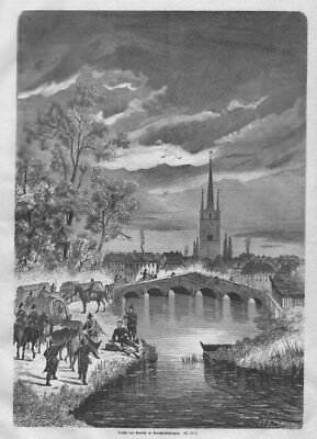 """""""Remilly"""" -Lothringen- Ansicht mit der Brücke. Original Holzstich von 1871"""
