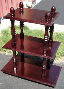 Solid wooden three tier cherry coloured bookcase shelving London Ontario image 2