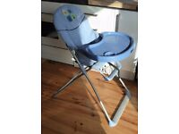 Childs High Chair, free standing, metal legs, blue plastic tray
