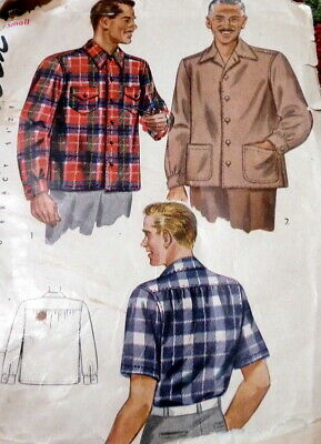 1940s Men's Shirts, Sweaters, Vests *VTG 1940s MENS SHIRT Sewing Pattern SMALL CHEST 34-36 $6.99 AT vintagedancer.com