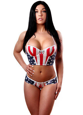 Molded Cup Bustier (SEXY American Flag Molded Cup Bustier and Star Back Panty Set. Made in USA. )
