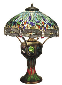 """34"""" Tiffany Style Stained Glass Dragonfly Lamp"""