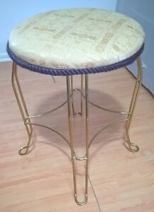 Vintage Wrought Iron Backless Bar Stool with Fabric Top