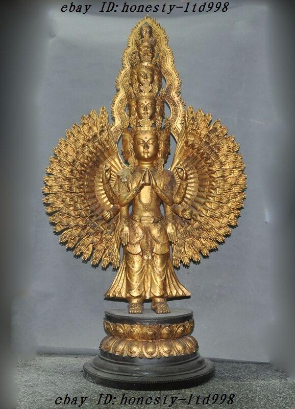 "50""huge Tibet Temple Bronze Gilt Avalokitesvara 1000 Arms Kwanyin Goddess Statue"