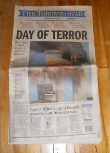 911 Sept. 12 2001 First Edition Early Toronto Star Newspaper Kingston Kingston Area image 2