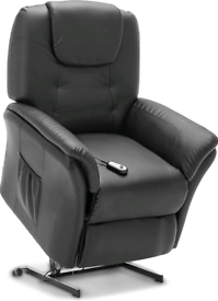 Black leather Recliner and riser Armchair New with remote free local d