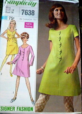 LOVELY VTG 1960s DRESS & SASH Sewing Pattern 14/36