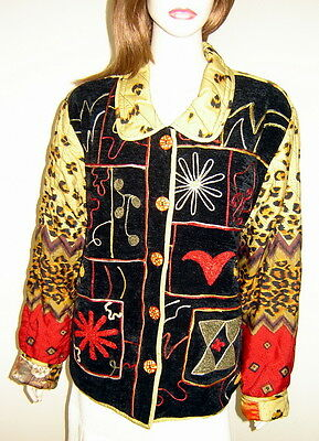 Reversible Chenille Jacket (CHICO'S Reversible Black/Red Leopard Print Quilted Chenille Jacket (Size 2) NWT )