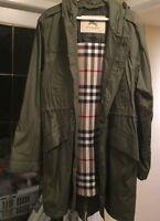 BURBERRY men's Green Trench Coat w/ Nova Check Wool Liner XL
