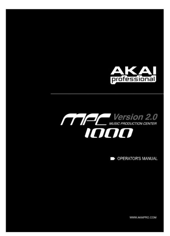 Akai MPC1000  Owners Instruction Manual