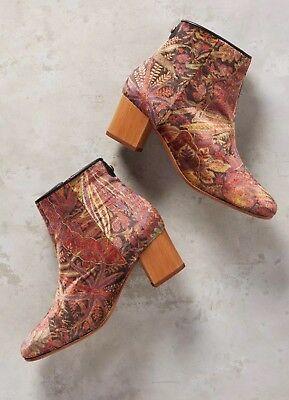 NEW Anthropologie Garnett Velvet Liberty Floral Boots Heels Size 38