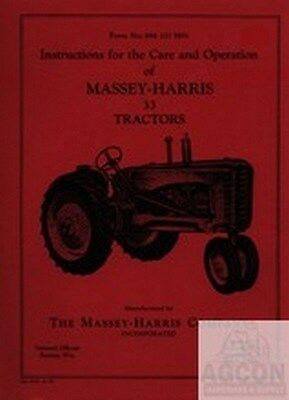 Massey Harris 33 Tractor Operator Instruction Manual