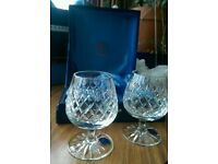 Thomas Webb crystal brandy glass/balloon - set of two with presentation case