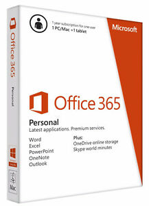 Microsoft Office 365 Personal - 1 Yr Subscription for 1 PC/MAC