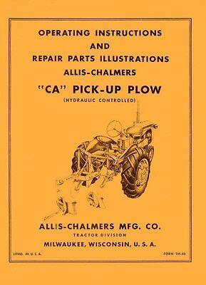 Allis Chalmers Ca Pick Up Plow Operators Manual