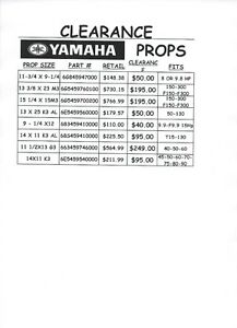 New Yamaha and Mercury prop clearance sale