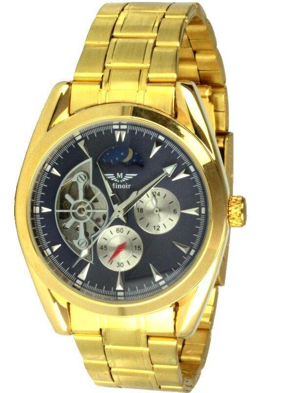 Minoir Uhren Automatikuhr Modell CHOLET III gold/blau Herrenuhr Gliederarmband