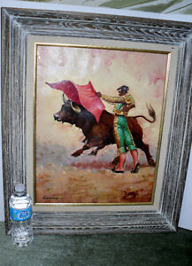 BULL with MATADOR signed OIL Painting