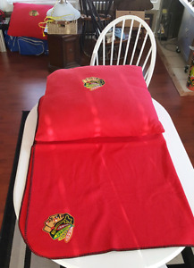 Chicago Blackhawks pillows and blanket